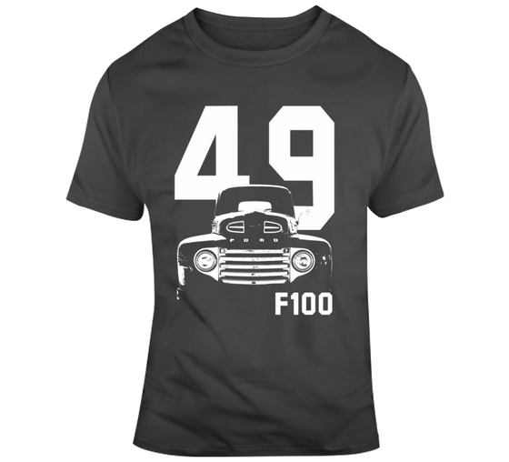 1949 F100 Grill View With Year And Model Name Charcoal Grey T Shirt