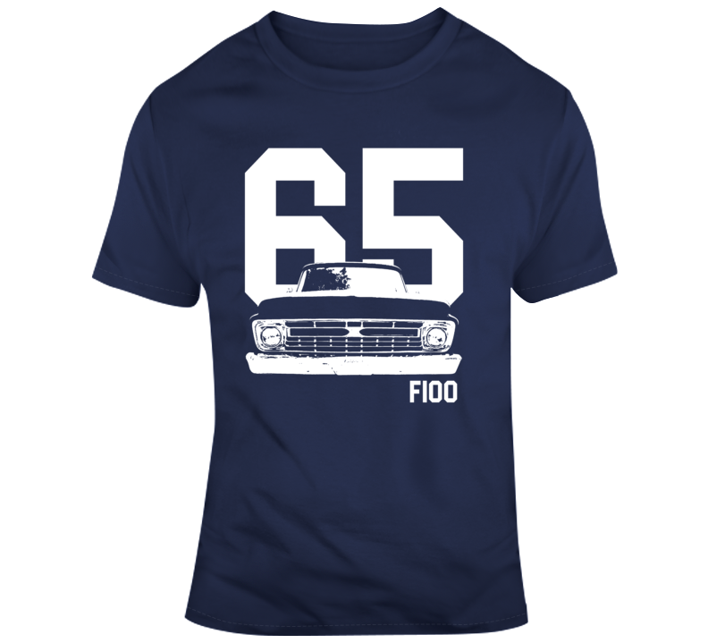 1965 F100 Grill View With Year And Model Name Navy T Shirt