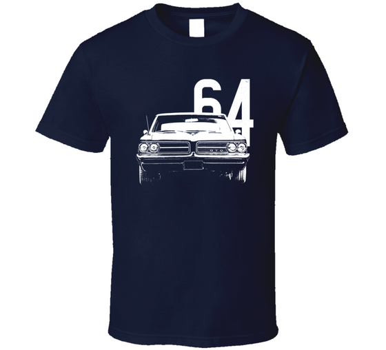1964 Gto Grill View With Year Dark Color T Shirt-Car Geek Tees