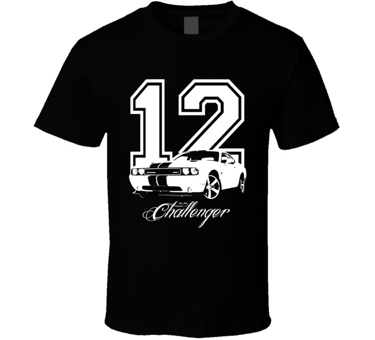 2012 Challenger SRT Grill View Year Model Dark Color Shirt-Car Geek Tees