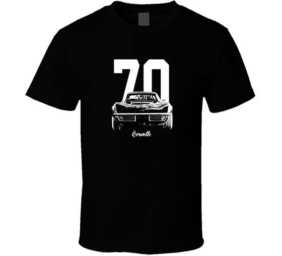 1970 Corvette Grill View With Year And Model Dark Color T Shirt-Car Geek Tees