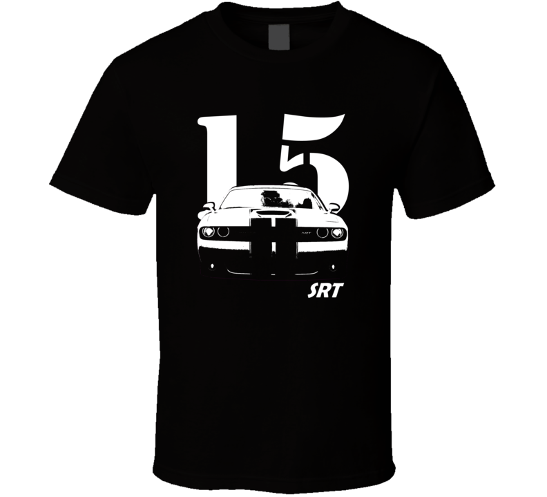 2015 Challenger SRT Grill View With Year and Model Dark T Shirt-Car Geek Tees
