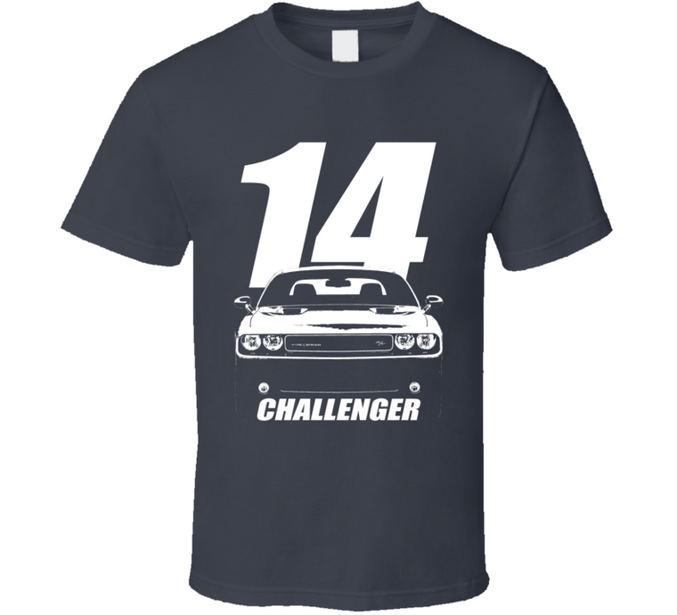 2014 Challenger Grill View With Year And Model Name Charcoal Grey T Shirt