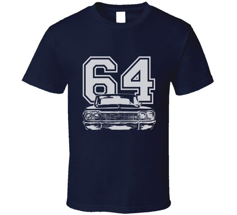 1964 CHEVY IMPALA SS White Graphic Year T Shirt-Car Geek Tees