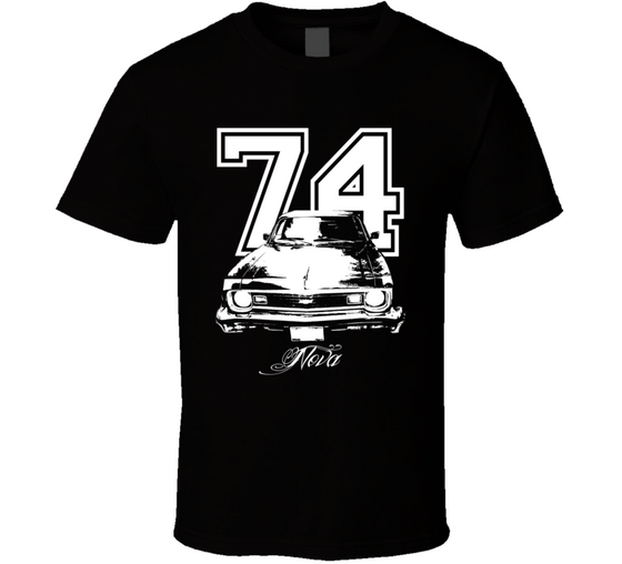 1974 Chevy Nova Grill View Year Model White Graphic Dark Color Shirt-Car Geek Tees