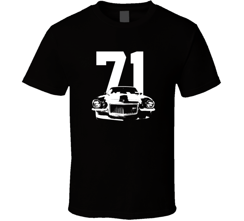 1971 Camaro Grill View With Year Dark Color T-Shirt-Car Geek Tees