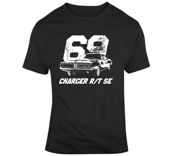 1969 Charger Rt Se Three Quarter View With Year And Model Dark Color T Shirt