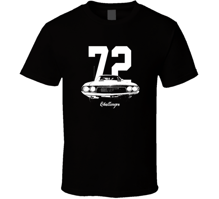 1972 Challenger Grill View With Year And Model Dark Color T Shirt-Car Geek Tees
