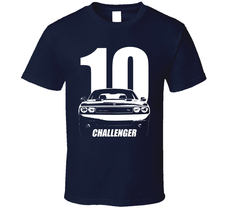 2010 Challenger Grill View With Year And Model Name Navy Blue T Shirt