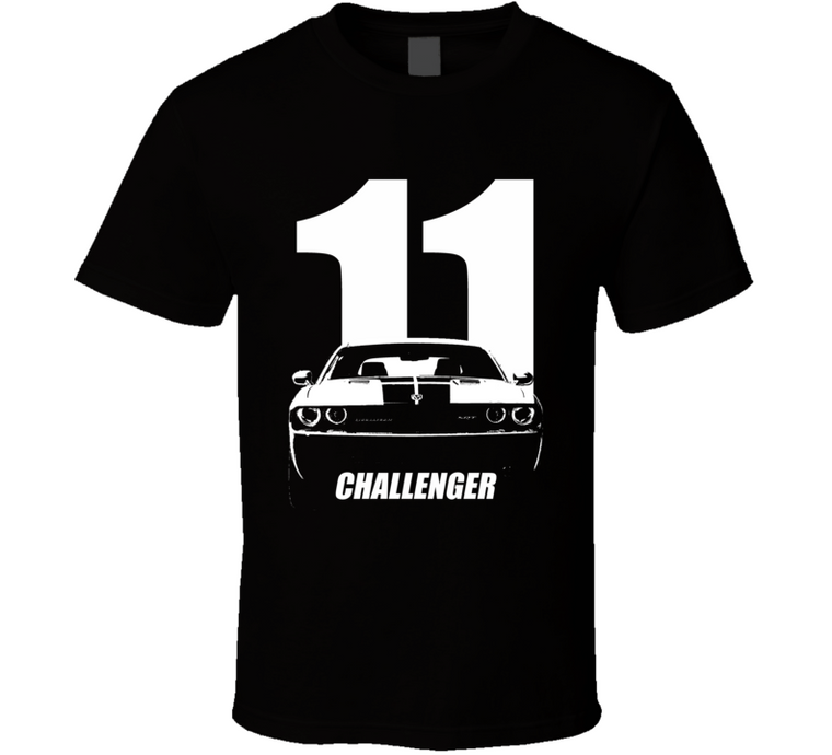 2011 Challenger Grill View With Year And Model Name Black T Shirt