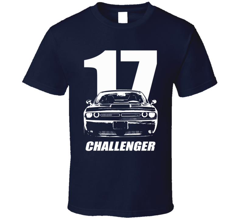 2017 Challenger Grill View With Year And Model Name Navy Blue T Shirt