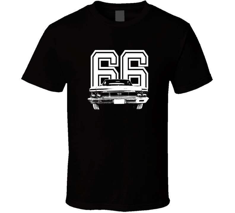 1966 Chevelle Grill View With Year Dark Color T Shirt-Car Geek Tees