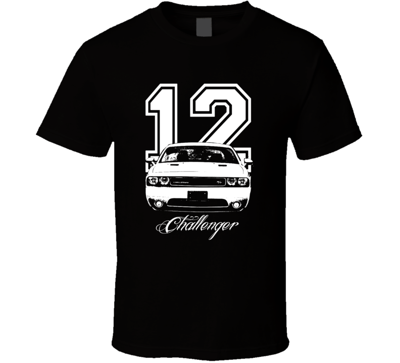 2012 Challenger Grill View Year Model Name Dark Color Shirt-Car Geek Tees