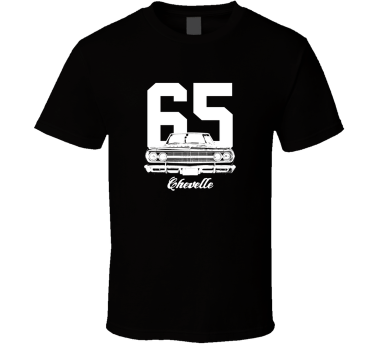1965 Chevelle Grill View With Year And Model Dark Color T Shirt-Car Geek Tees