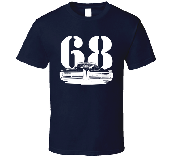 1968 GTO Grill View With Year Dark T Shirt-Car Geek Tees