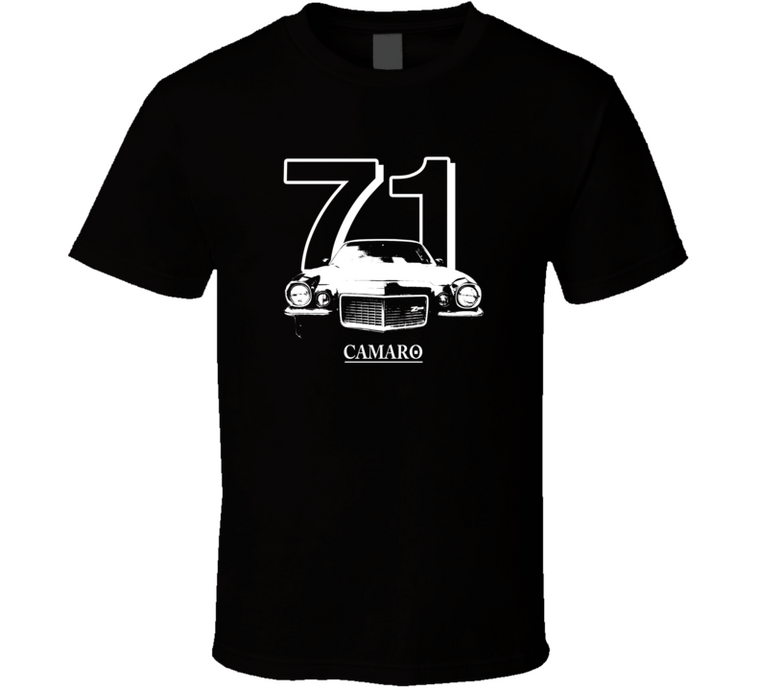 1971 Camaro Grill View With Year and Model Dark Color T Shirt-Car Geek Tees