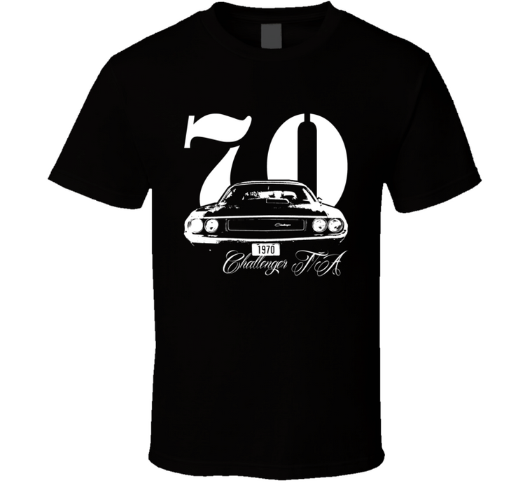 1970 Challenger TA Grill With Model and Year Black T Shirt-Car Geek Tees