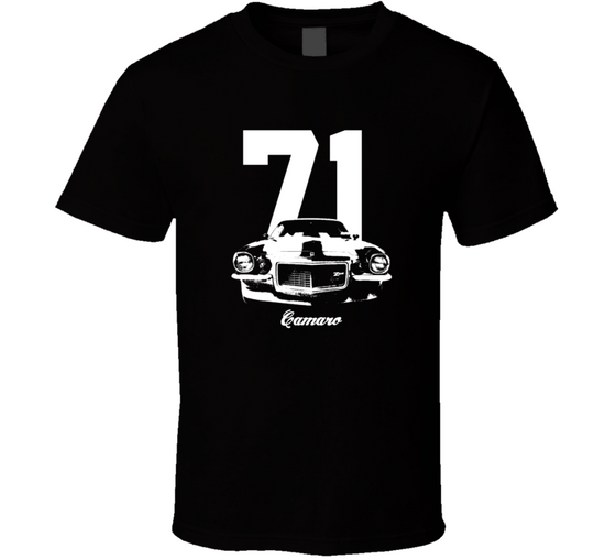 1971 Camaro Grill View With Year And Model Dark Color T-Shirt-Car Geek Tees