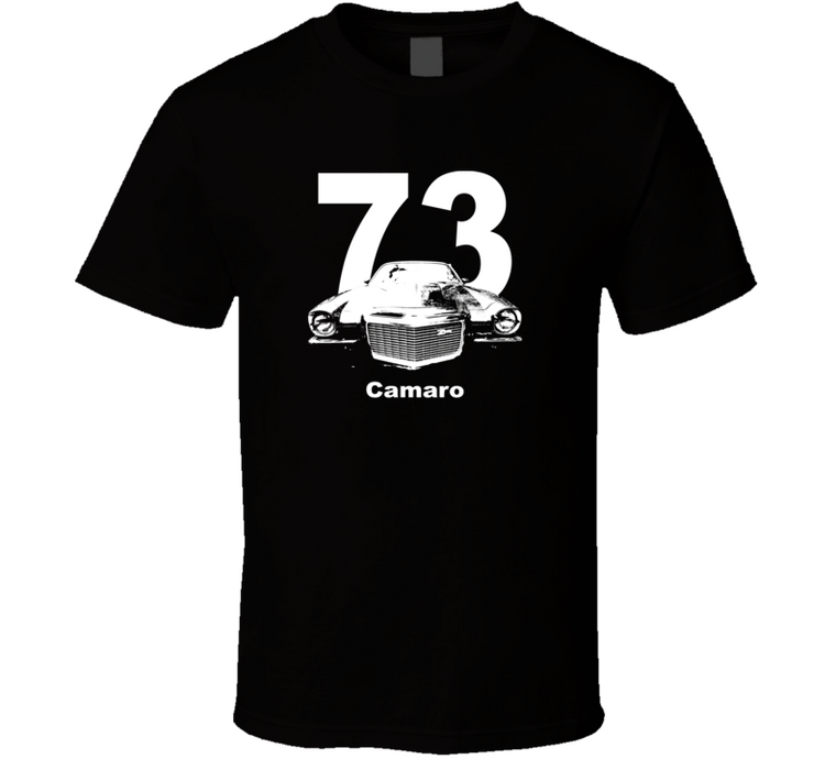 1973 Camaro Grill View With Year and Model Dark Color T Shirt-Car Geek Tees