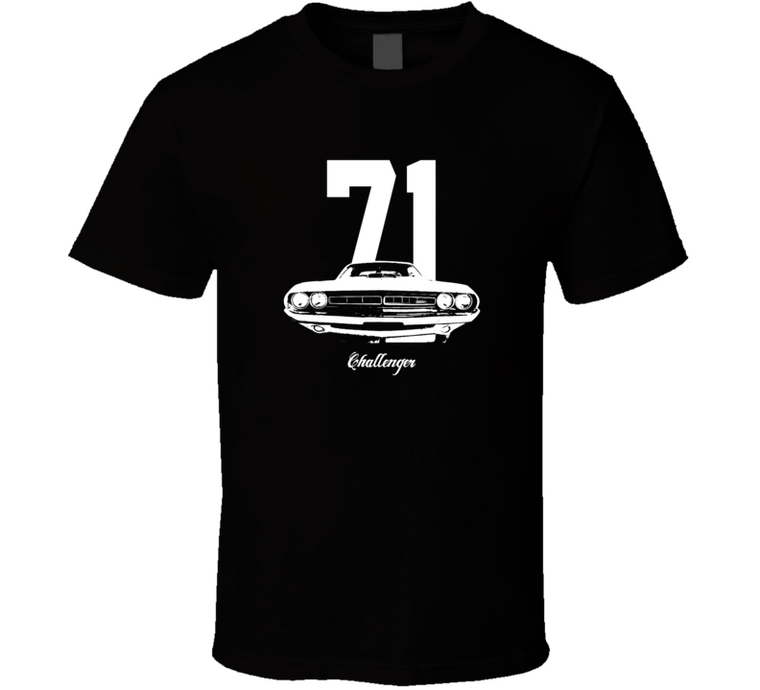 1971 Challenger Grill View With Year And Model Dark Color T Shirt-Car Geek Tees