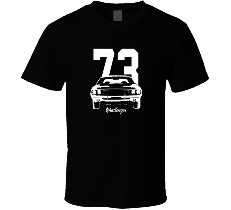1973 Challenger Grill View With Year And Model Dark Color T Shirt-Car Geek Tees