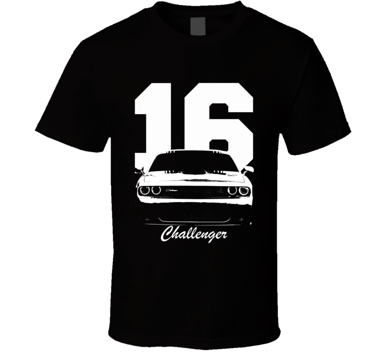2016 Challenger Grill View With Year And Model Name Black T Shirt