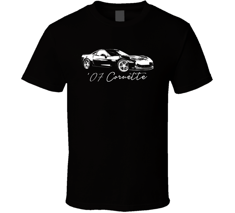 2007 Corvette Side Angle View With Year Model Dark Color T Shirt-Car Geek Tees