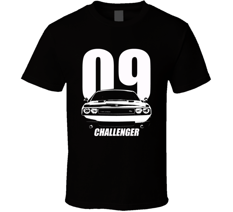2009 Challenger Grill View With Year And Model Name Black T Shirt