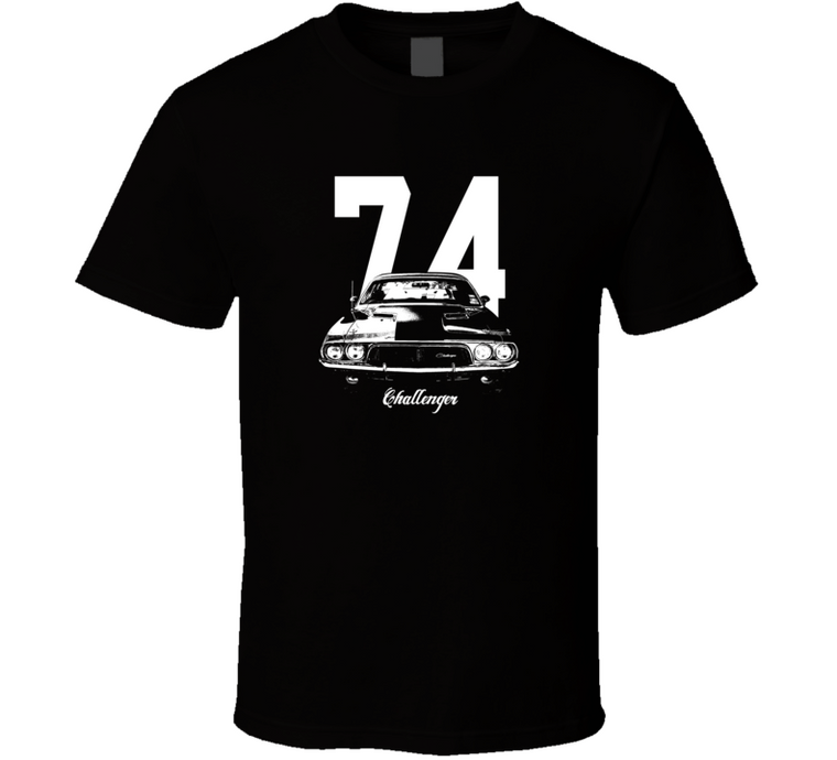 1974 Challenger Grill View With Year And Model Dark Color T Shirt-Car Geek Tees
