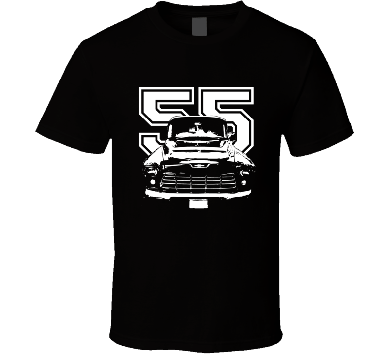 1955 Pickup Truck Grill View With Year Dark Shirt-Car Geek Tees