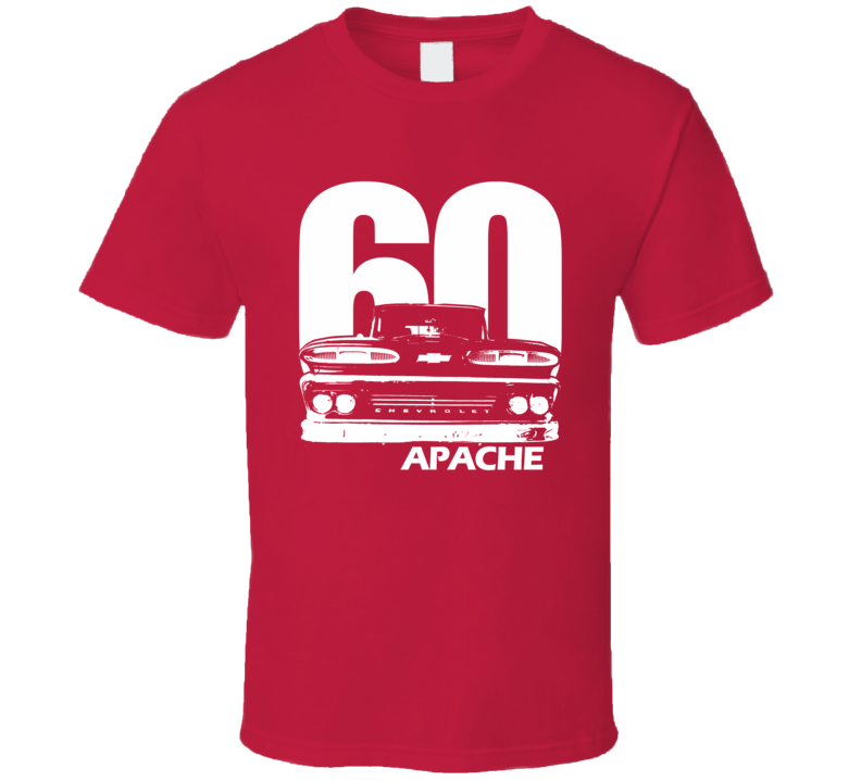 1960 C10 Apache Pickup Truck Grill View With Year And Apache Model Name Red T Shirt