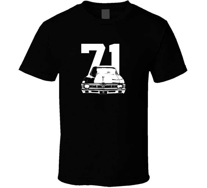 1971 Nova Grill View With Year Dark Color T Shirt-Car Geek Tees