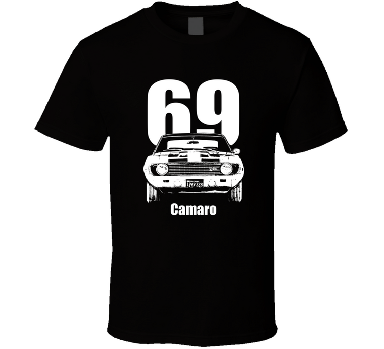 1969 Camaro Grill View With Year and Model Dark Color T Shirt-Car Geek Tees