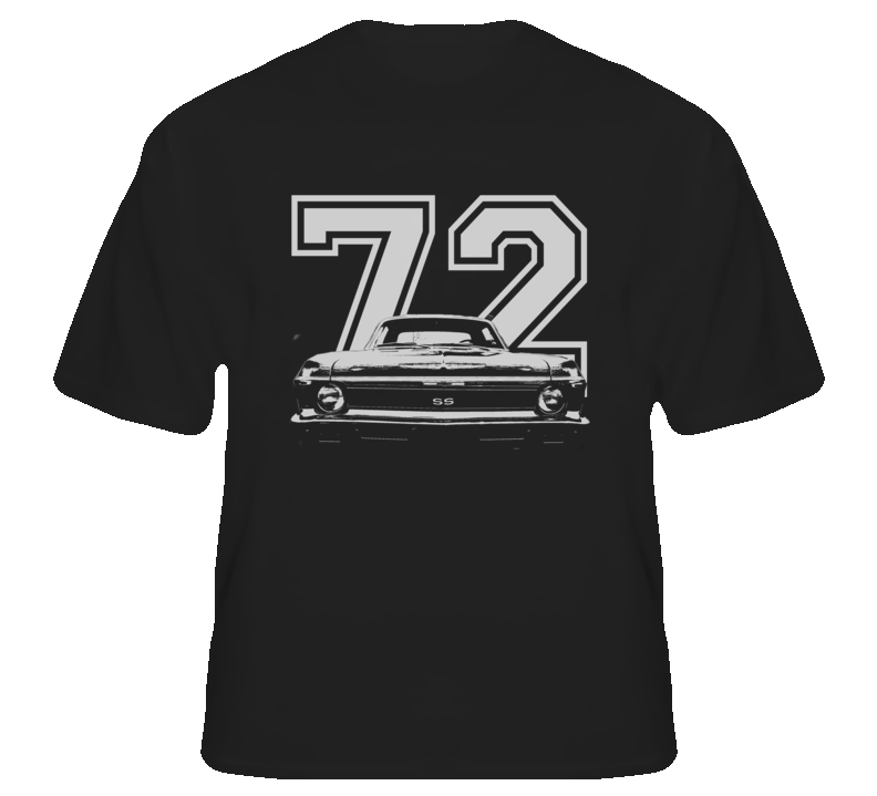 1972 CHEVY NOVA Grill View White Graphic Wth Year Dark T Shirt-Car Geek Tees