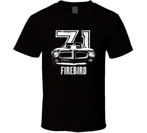 1971 Firebird Grill View With Year And Model Name Dark Color T Shirt