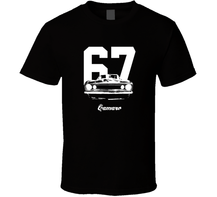 1967 Camaro Grill View With Year And Model Dark Color T-Shirt-Car Geek Tees