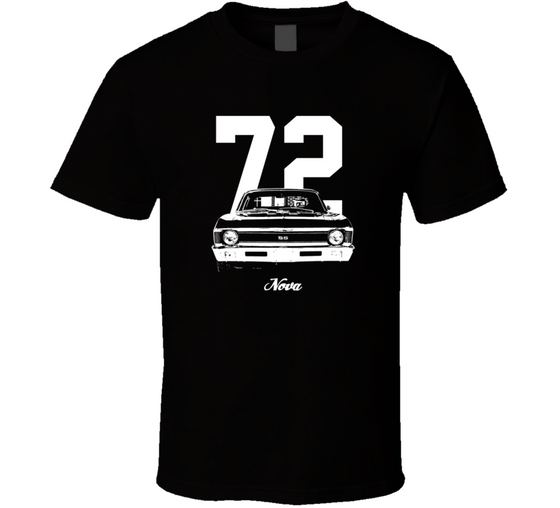 1972 Nova Grill View With Year And Model Dark Color T Shirt-Car Geek Tees