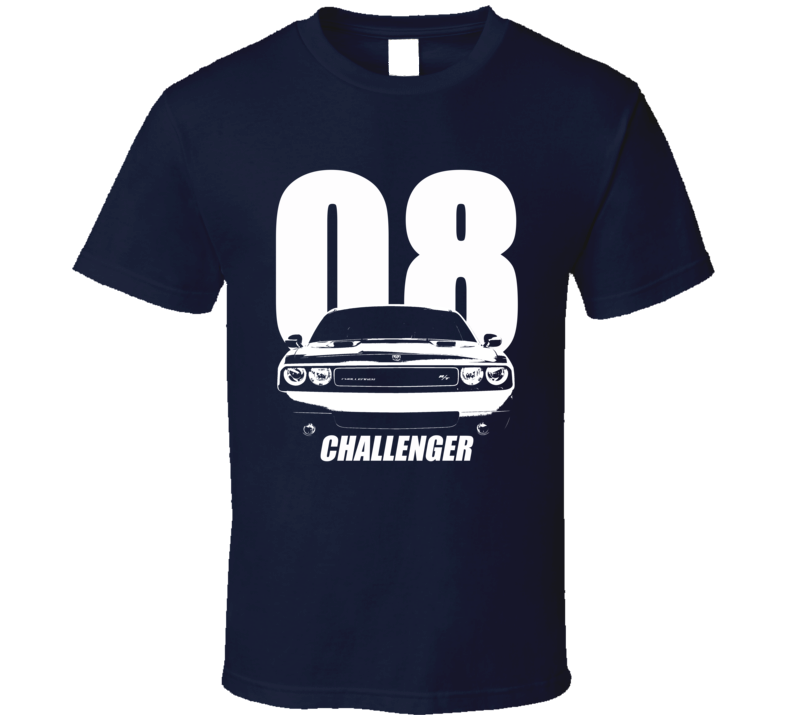 2008 Challenger Grill View With Year And Model Name Navy Blue T Shirt