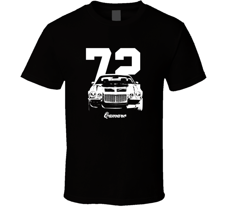1972 Camaro Grill View With Year And Model Dark Color T-Shirts T Shirt-Car Geek Tees