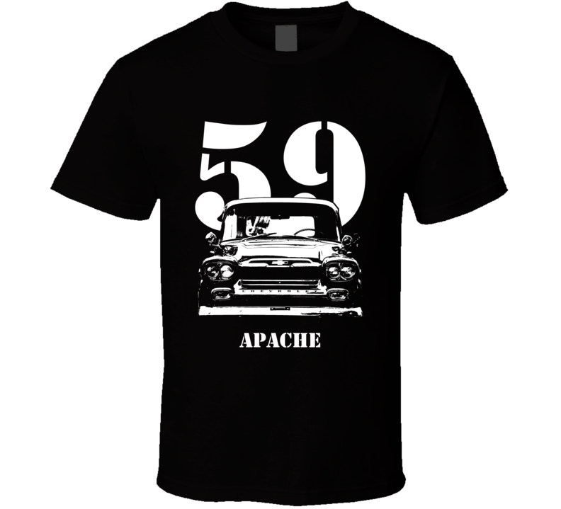 1959 Apache Grill View With Year and Model Dark Shirt-Car Geek Tees