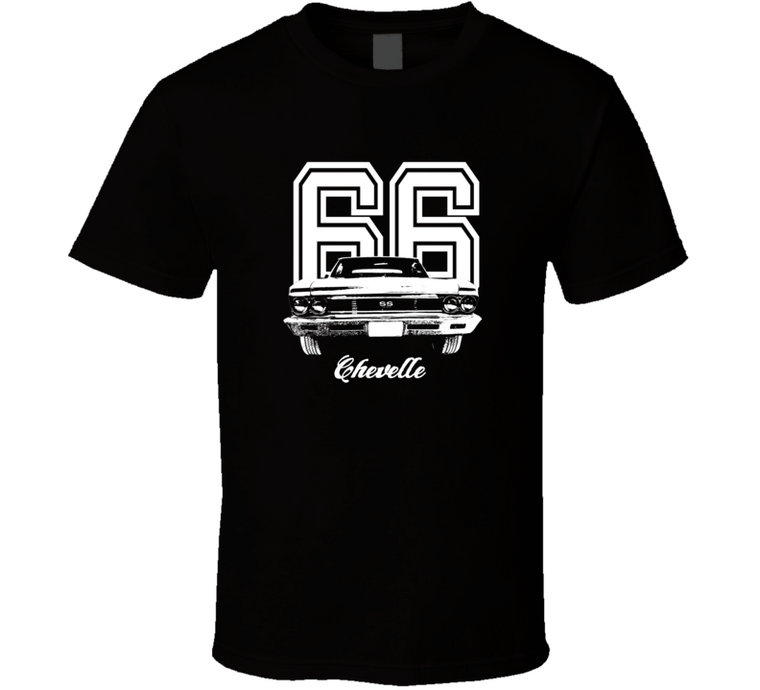 1966 Chevelle Grill View With Year And Model Dark Color T Shirt-Car Geek Tees