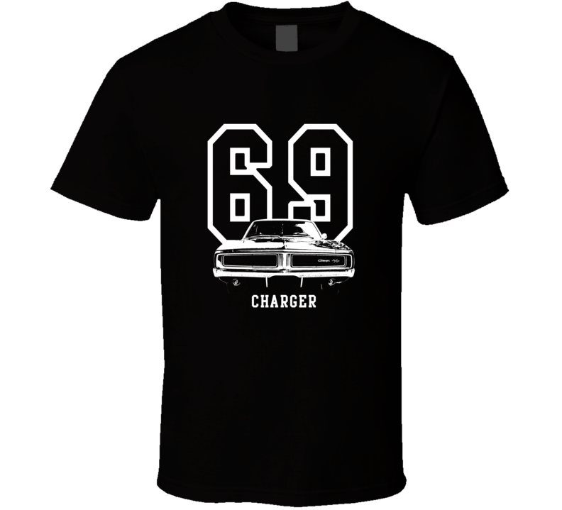 1969 Charger Grill View With Year And Model Dark Color T Shirt-Car Geek Tees