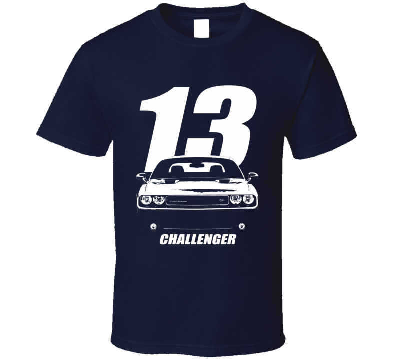 2013 Challenger Grill View With Year And Model Name Navy Blue T Shirt