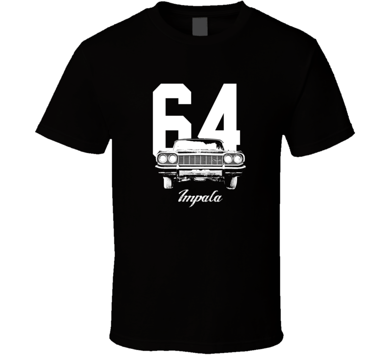 1964 Impala Grill View With Year And Model Dark Color T Shirt-Car Geek Tees
