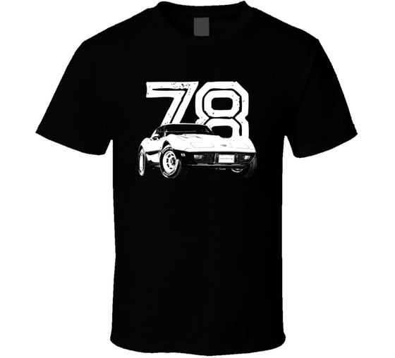1978 Corvette Three Quarter View With Year Dark Color T Shirt