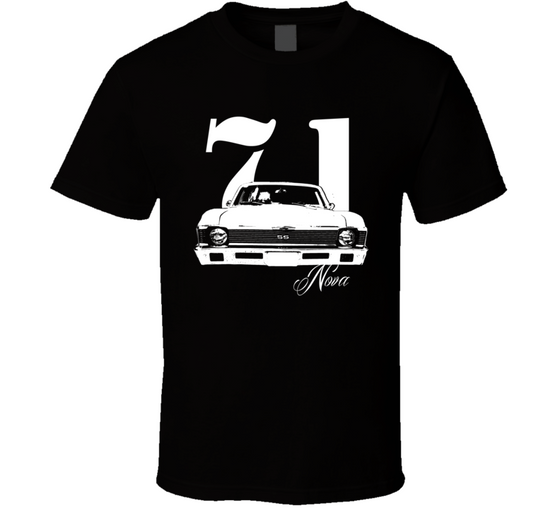 1971 Nova Grill View With Year and Model Dark T Shirt-Car Geek Tees