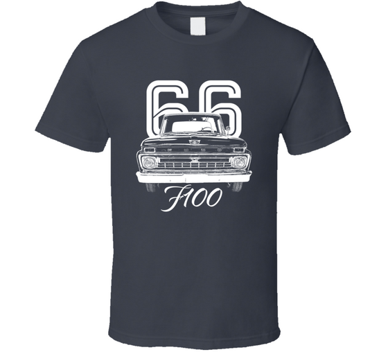 1966 F100 Grill View With Year And Model Dark Color T Shirt