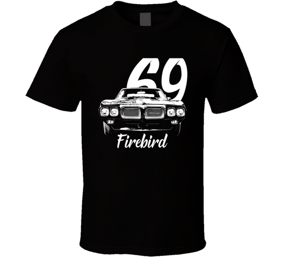 1969 Firebird Grill View With Year And Model Dark Color T Shirt