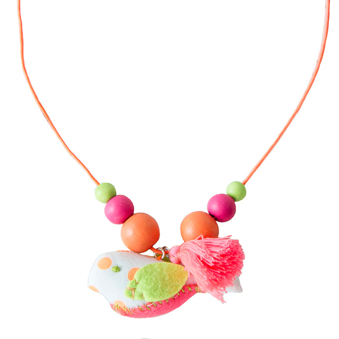 Orange Dot Birdie Necklace