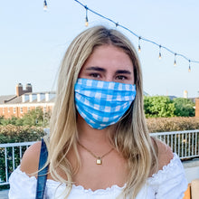 Turq Gingham Face Mask
